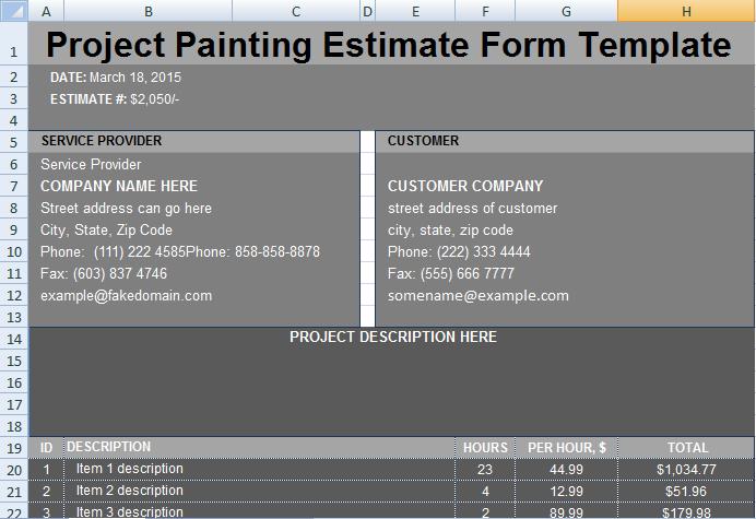 Painting Estimate Template