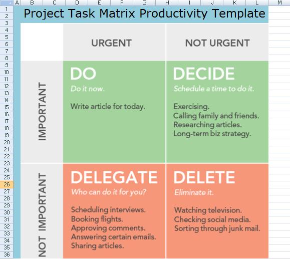 Project Task Matrix Productivity Template
